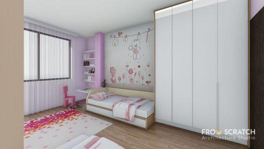 интериорен проект за детска стая за момиче