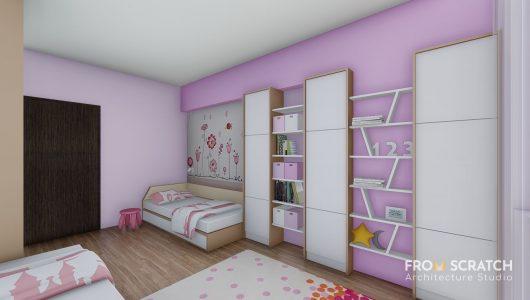 дизайн на детска стая за момиче в розова гама