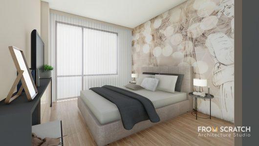 модерен дизайн на спалня с декоративен тапет на стената