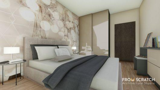 идея за обзавеждане на спалня с декоративен акцент на една от стените