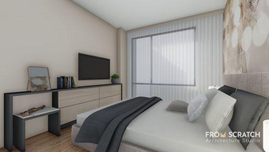 проект за вътрешен дизайн на спалня в пастелни цветове и изчистени семпли мебели