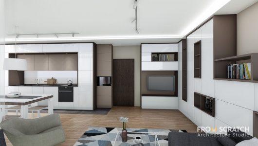 вътрешен дизайн на дневна , кухня и трапезария