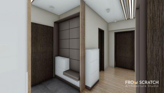 интериорен дизайн на антре с шкафове за съхранение и зона за сядане в блозост до входа