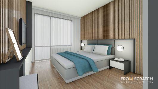 проект за спалня показващ интерирно решение в неутрални цветове и акценти от тюркоаз